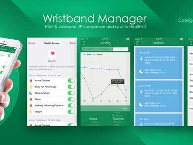 Wristband Manager iPhone UX/UI design