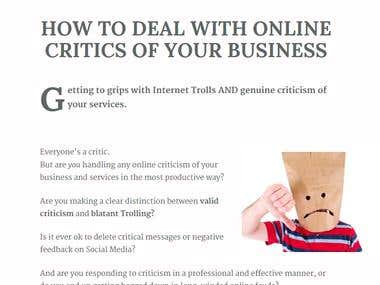 How to Handle Your Online Critics