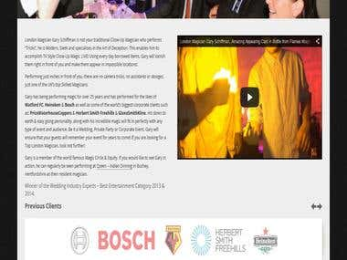 Fully responsive wordpress website for the London magician