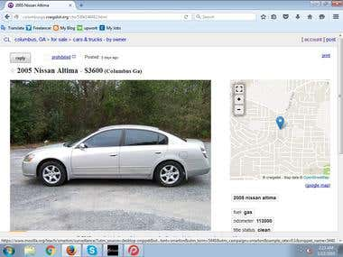Car Ads posting on Craigslist for sell by woner.