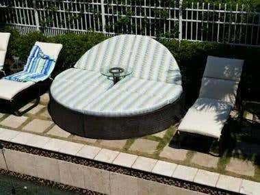 Massive Outdoor Circular Chaise Lounge