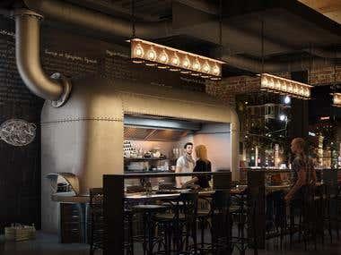 Industrial Restaurant Interior mode