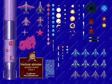 Vertical shmup 2D graphic assets bundle