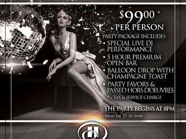 New Year's Eve Flyer for Hilton Long Island