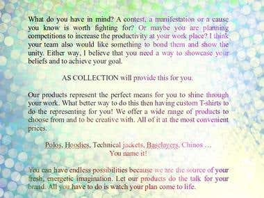 AS Collection Flyer - Advertising copywriter