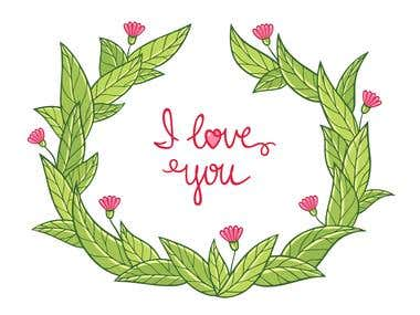 "Lettering ""I love you"""