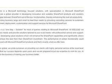 About Us for a MS SharePoint Consulting Company