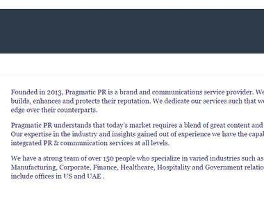 About Us for a PR Company