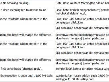 Travel Website Translation