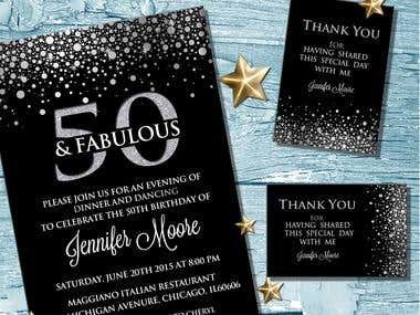 Birthday invitation with thank you card