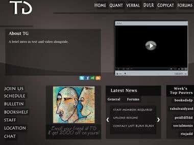 TG website homepage