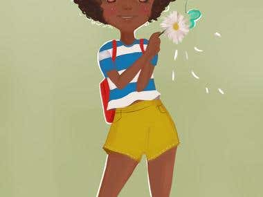 cute afro girl daisy