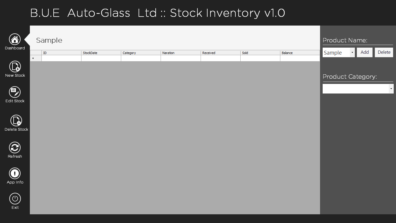 BUE Stock Inventory Desktop  App