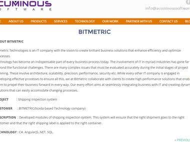 BITMETRIC Shipping inspection system