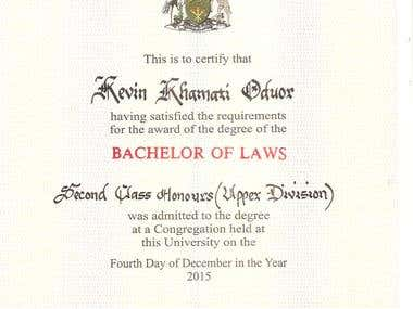 BACHELOR OF LAW DEGREE CERTIFICATE