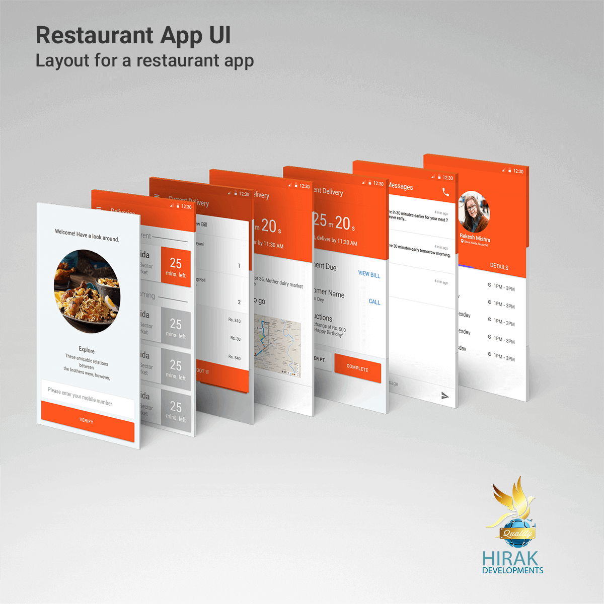 Material design layout for Restaurant App