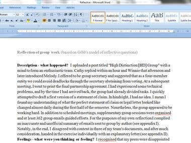 Reflective writing (Copyright)