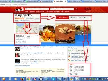 Portfolio project of Restaurant information  from yelp.com