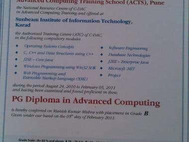 C-DAC  Certificate