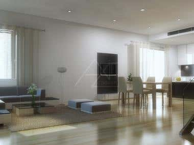 3D Drawing Room Render