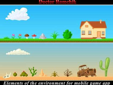 Mobile Game App Design. Elements of the environment