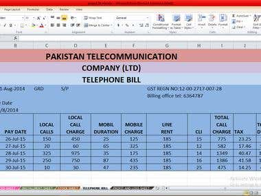 Telephone Bill on Excel