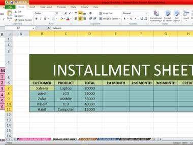 Installment sheet on Excel
