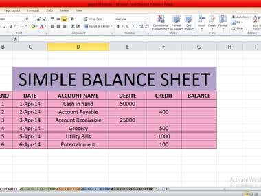 Simple Balance Sheet on Excel