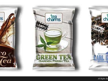 tea charms logo and package design