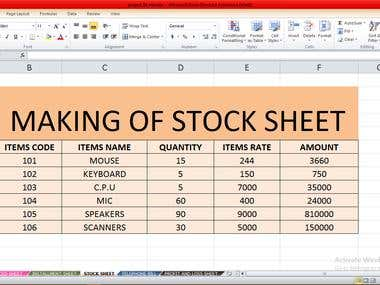 MAKING OF STOCK SHEET ON EXCEL