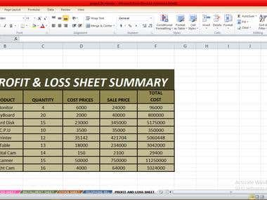 PROFIT & LOSS SHEET SUMMARY ON EXCEL