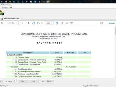 Accounting System for Cooperative