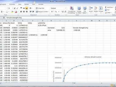 Material datasheet work on excel