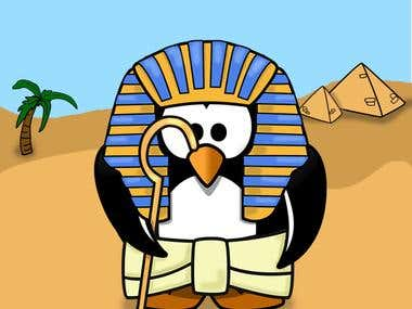 Simple illustration of a pharao from Egypt