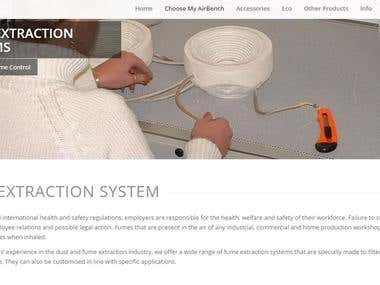 Webpage Content for AirBench (Fume Extraction System Page)