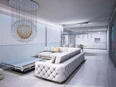 3D Drawing Room Render Portfoliio