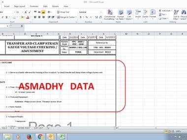 MICROSOFT EXCEL DESCRIPTION OF WORK