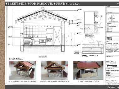 Working / Execution Drawings of Street Side Food Parlour