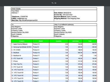 Customized Opencart Sales Invoice
