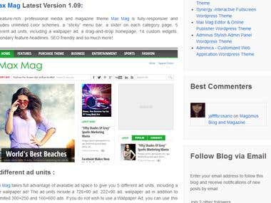 Uploading article at Wordpress theme store