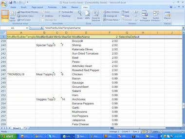 Data entry, Excel