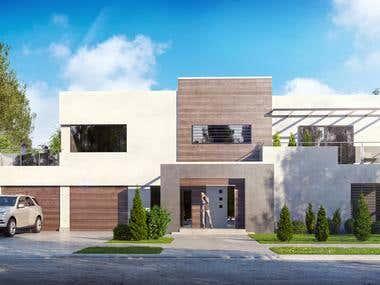 Modern villa rendering