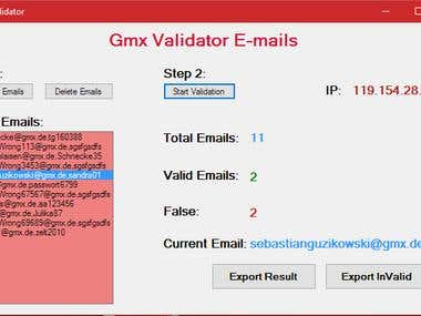 GMX - Mail Server - Email/Password Validation Software