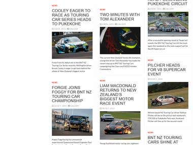 Car racing website development.