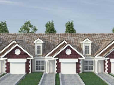 House front elevation, 3D modeling and rendering
