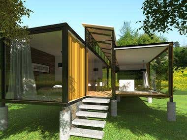 Container 3d modeling & rendering and interior design