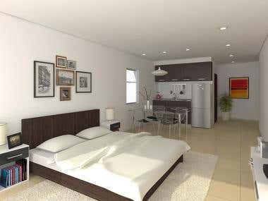 Bedroom interior design, 3d modeling and rendering