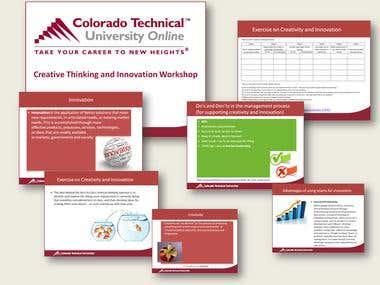 Workshop for Colorado Technical University USA.