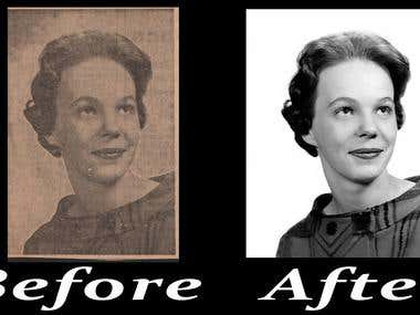 Photo retouch - Newspaper photo to clean photo