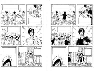 Comic illustration, with inking or plain